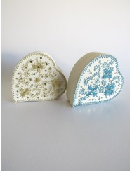 Heart box embroidered in turquoise metallic thread