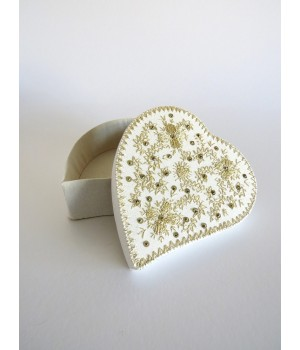 Heart box embroidered in golden thread
