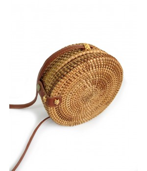 Crossbody round straw bag