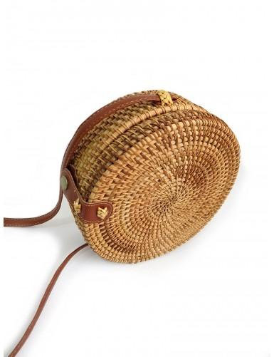Crossbody round straw bag