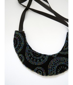 Black velvet necklace embroidered with beads