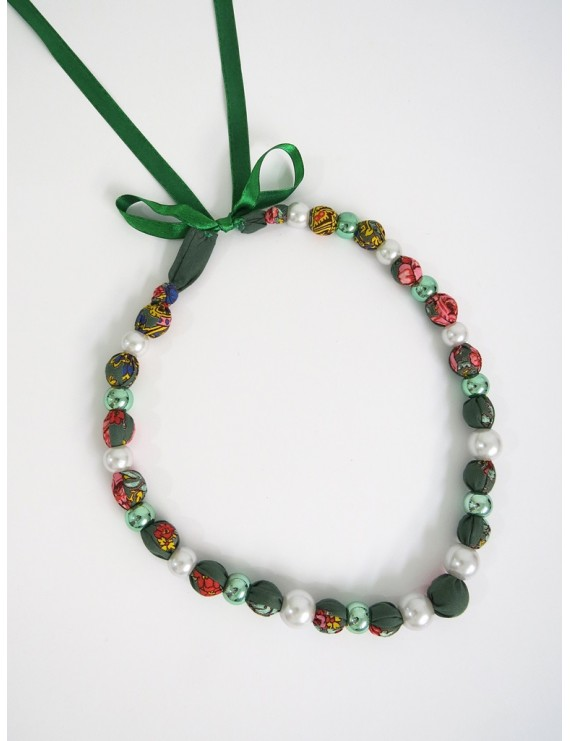 Green ball necklace with Viana scarf