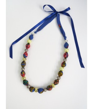 Blue ball necklace with Viana scarf