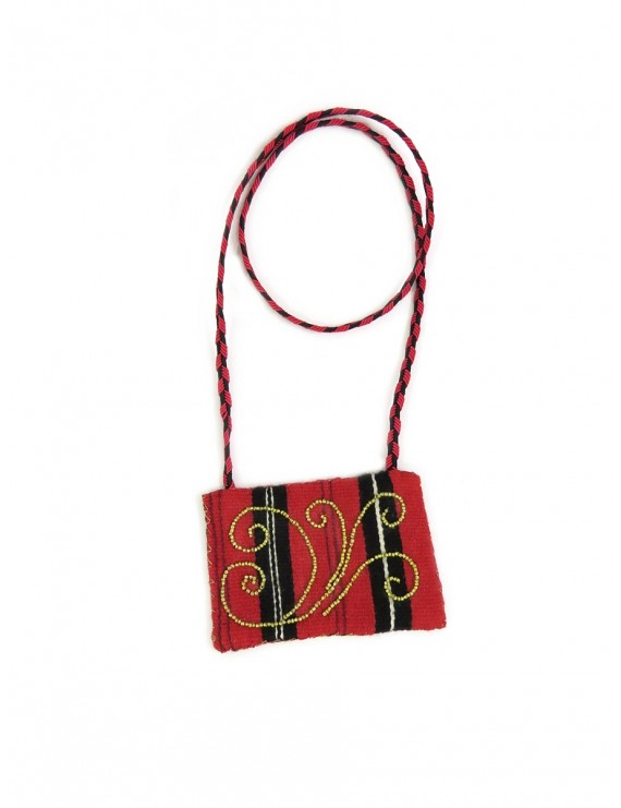Red handmade textile necklace