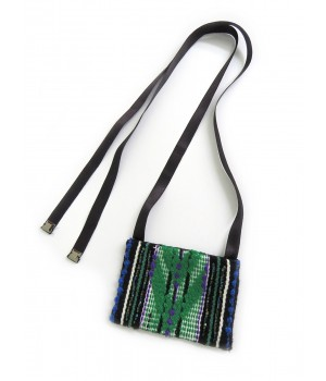 Black and green handmade textile necklace