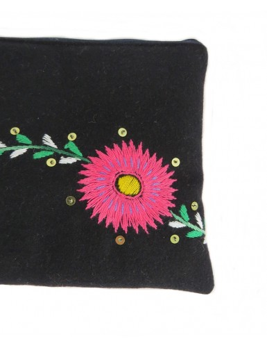 Hand-embroidered case with pink flower