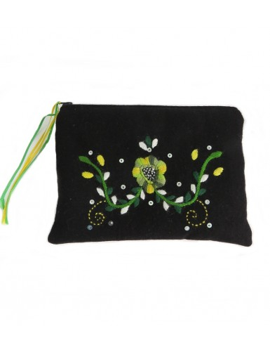 Hand embroidered case in wool