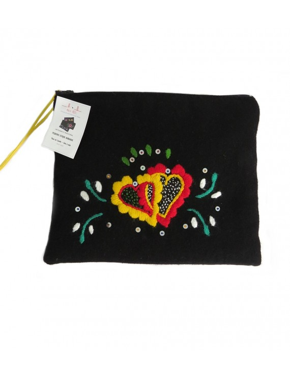 Hand-embroidered case -hearts