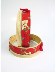 Bread basket in sifter shape - red Christmas