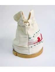 Sifter with linen bread bag - red and green pulled thread work