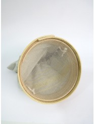 Sifter with linen bread bag - yellow pulled thread work