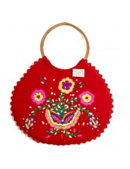 Red Embroidered handbag with wicker wings