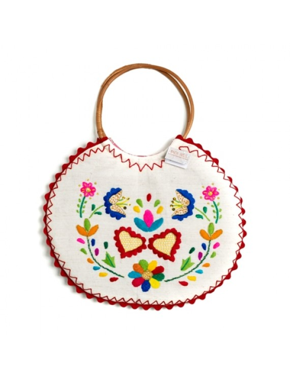 Embroidered handbag with wicker wings