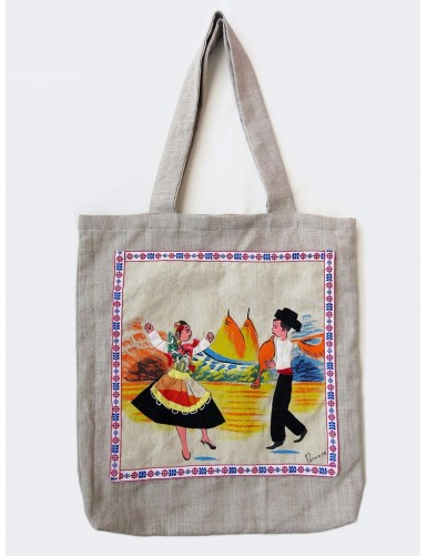 Linen bag with painted dancers