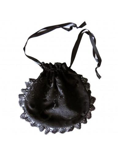 Black velvet drawstring pouch