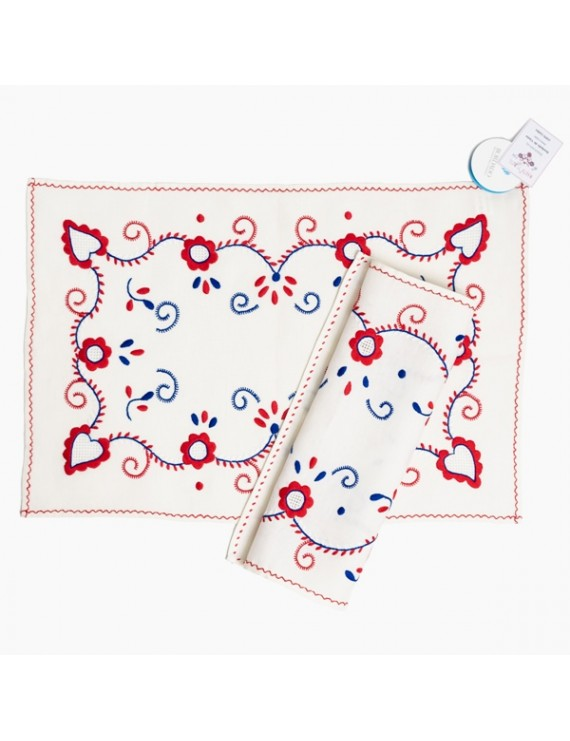 Hand embroidered linen tray cloth