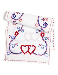 Three colours embroidered table runner