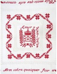"Love handkerchief - drawn thread work ""rose"""