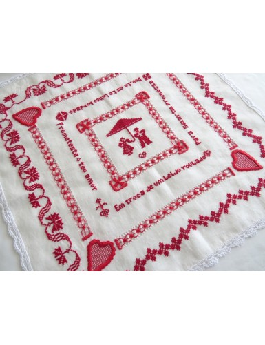 Love handkerchief embroidered in red cross stitch