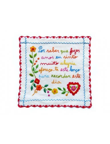 Small valentine handkerchief - birthday message