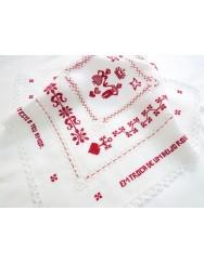 Love handkerchief - drawn thread work