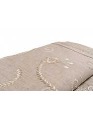Raw linen tablecloth embroidered in beige