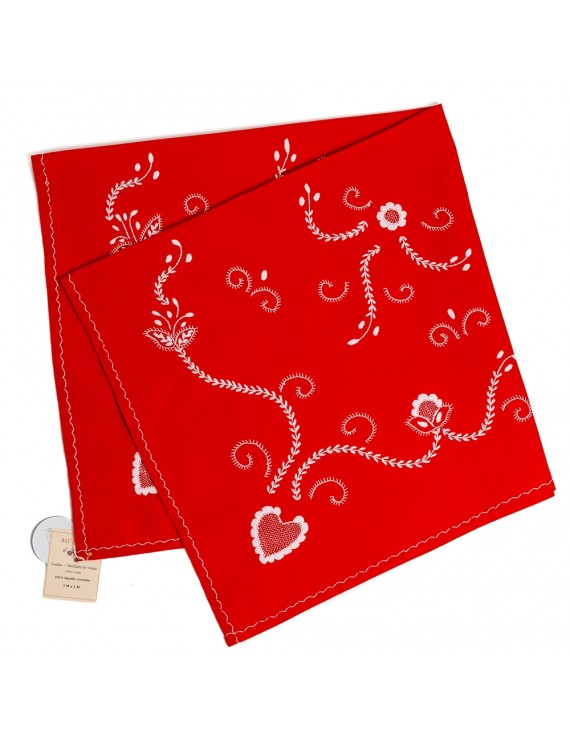 Small red cotton tablecloth embroidered in white - 1M