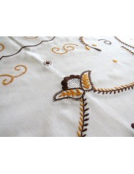 Cotton tablecloth embroidered in toasted yellow and brown - 2 M