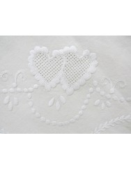 2,80 M - White linen tablecloth embroidered in white