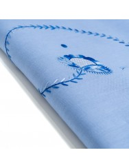 2,55 M Blue linen tablecloth embroidered in variegated blue