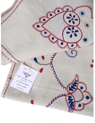 2,70 M Linen tablecloth embroidered in white red and blue