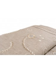 2,80 M Raw linen tablecloth embroidered in beige