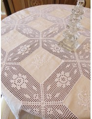 Lace crochet tablecloth with linen 1,7 M