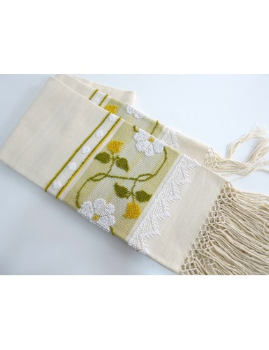 Linen towel with pulled thread work - marigold