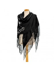 Black shawl hand embroidered in white