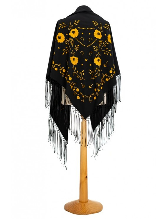 Black shawl hand embroidered in toasted yellow