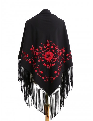 Black shawl hand embroidered in red