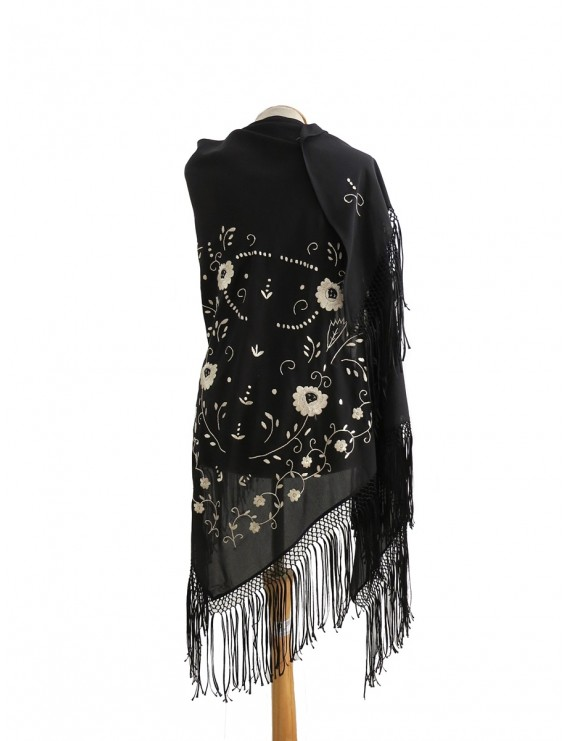 Black shawl hand embroidered in beige with silk fringes