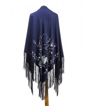 Dark blue shawl embroidered with white silk thread
