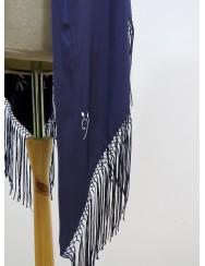 Dark blue shawl embroidered with white silk thread