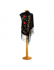 Black shawl hand embroidered in colours