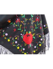 Black shawl embroidered in colors with large rose