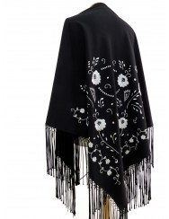 Black shawl hand embroidered in white with silk fringes