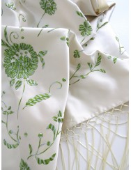 Silk shawl embroidered in light green