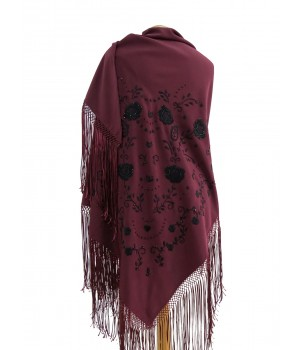 Burgundy shawl hand embroidered in black