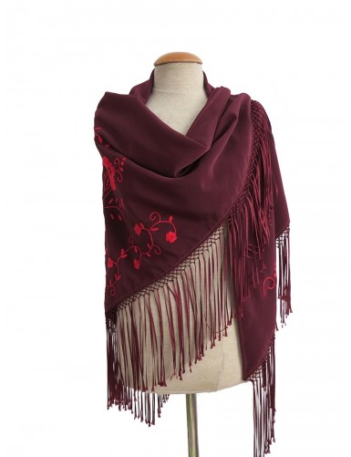 Burgundy shawl hand embroidered in red