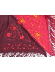 Red cherry shawl hand embroidered in toasted yellow