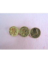 Pin with three welded coins