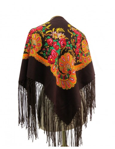 Traditional brown kerchief of Viana with fringes
