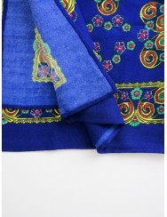 Blue printed scarf with floral pattern